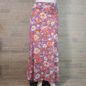 LuLaRoe 2X Floral Fold Over Waist Maxi Skirt